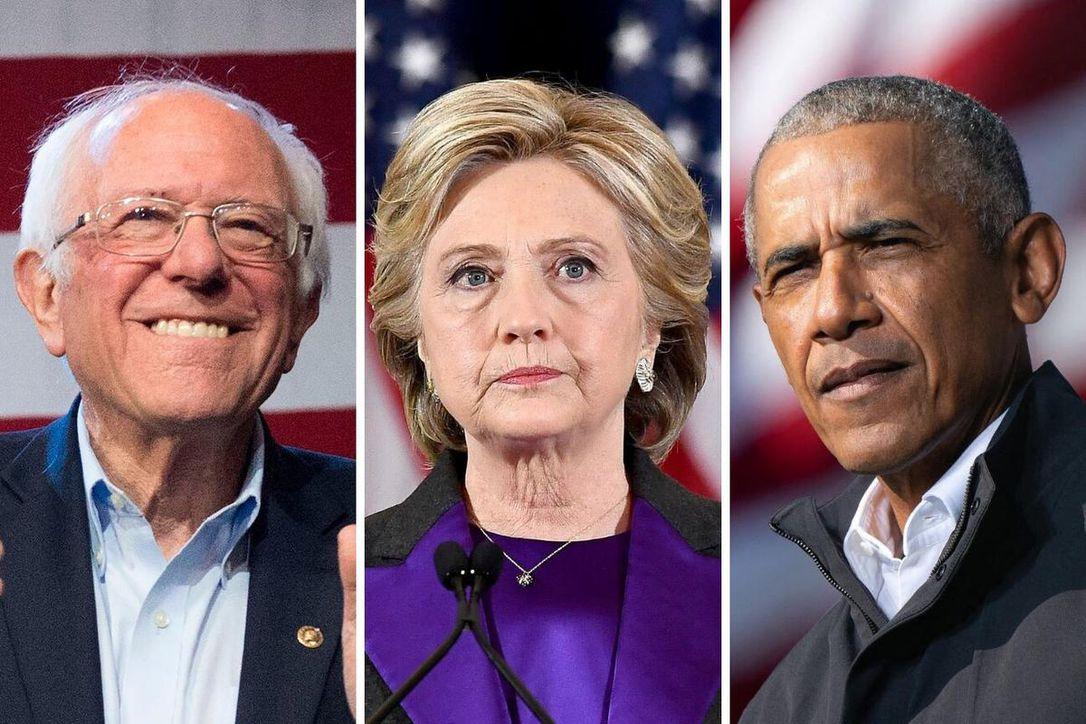 Bernie Sanders, Hillary Clinton and Barack Obama